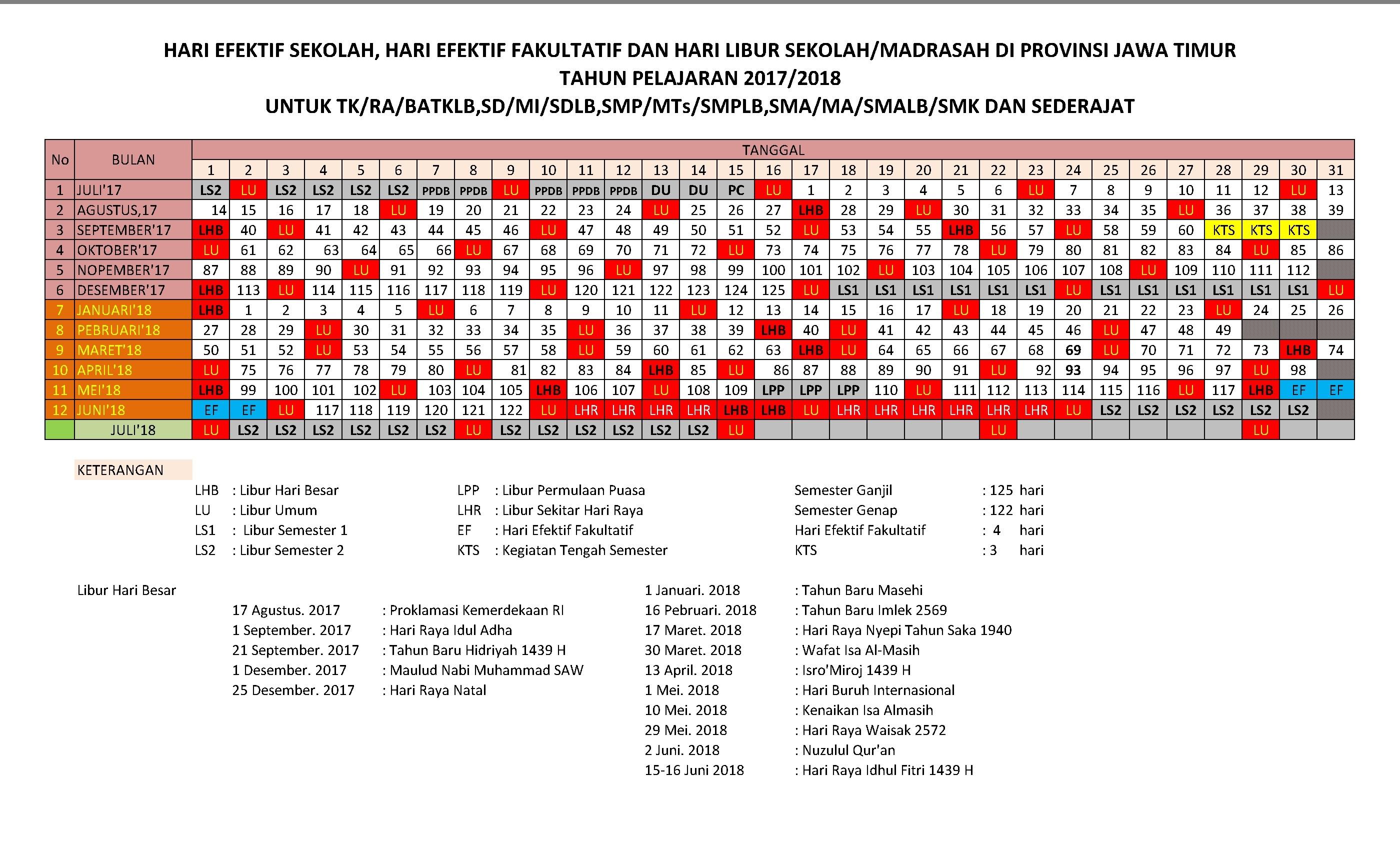 Kalender Pendidikan 2017-2018 Provinsi Jawa Timur